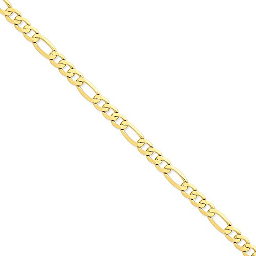 14k Yellow Gold 7.5mm Flat Figaro Chain 9'' Men's Bracelet by Jewelplus