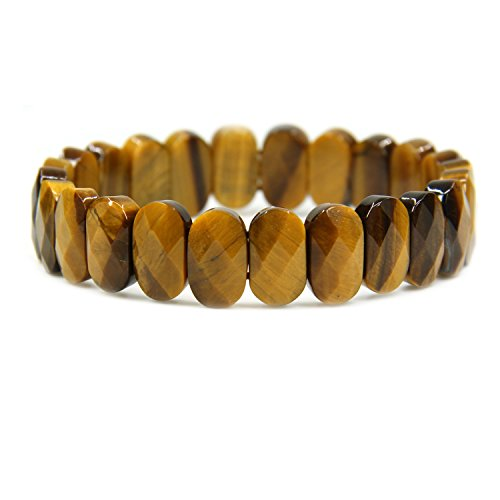 (Natural Golden Tiger Eye Gemstone 14mm Faceted Oval Beads Stretch Bracelet 7