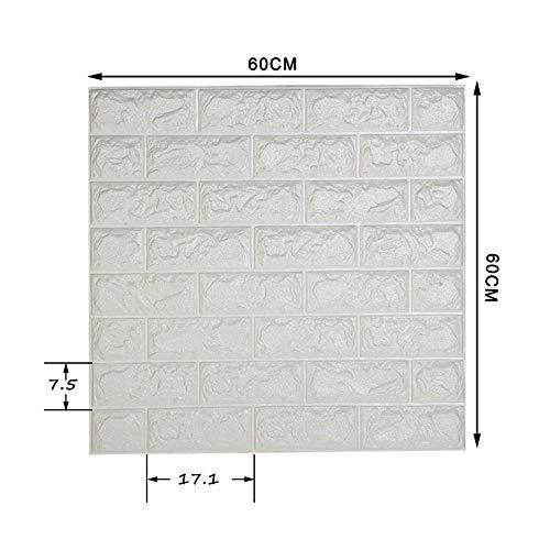 AILIDA Carta da Parati Mattoni 3d Bianco Autoadesiva Muro Impermeabile Pannelli Adesivi per Pareti