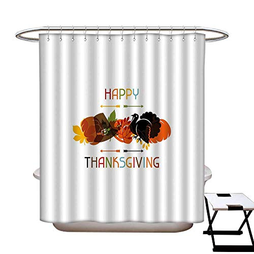 - homecoco Turkey Hotel Quality Shower Curtain Liner Bird Pumpkin Traveller`s Hat Silhouette with Celebratory Thanksgiving Illustration Shower Curtain with 12 Beaded Rings Multicolor