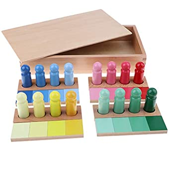 B Blesiya Juguete Montessori de Paneles y Cilindros de Colores Juego para Desarrollo de Sensibilidad Visual