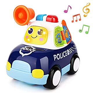 Yiosion Musical Police Car Pursuit Rescue Vehicle Interactive Action Educational Learning Walking Light Up Toy for 1 Year Old Baby Infants Toddlers Gifts