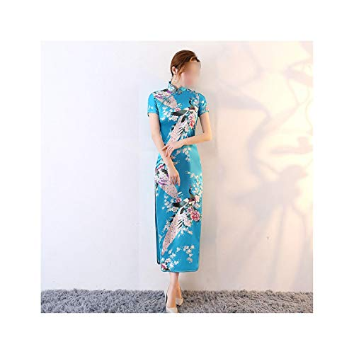 Dersimio Long Style Peacock Pattern Embroidery Silk Chinese Cheongsams Dress Women