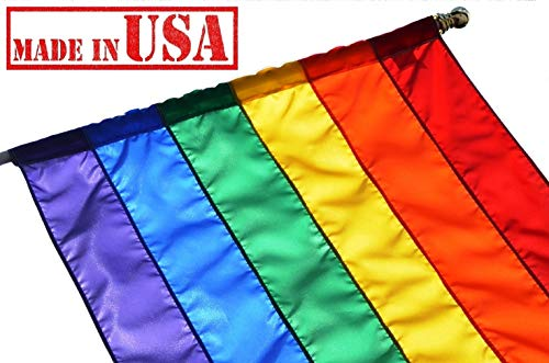 US Flag Factory 2.5'x4′ Rainbow Flag (Pole Sleeve) (SEWN Stripes) Outdoor SolarMax Nylon – Premium Quality – Made in America – Gay Pride Lesbian Bisexual Transgender LGBT