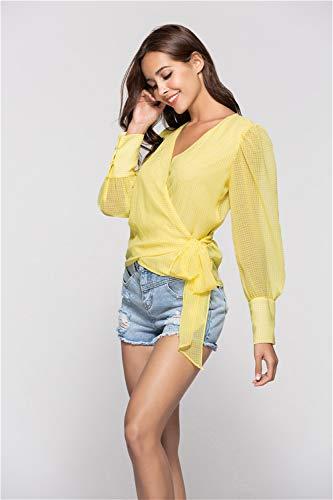 Benda Top Manica Lunghe Con Maniche Lunga Yellow Camicia A nqwqOApx6v