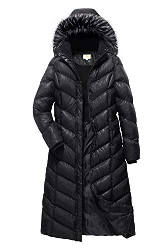 ELORA Women's Padded Puffer Full Length Coat with Fur Trim Removable Hood, Black, Large