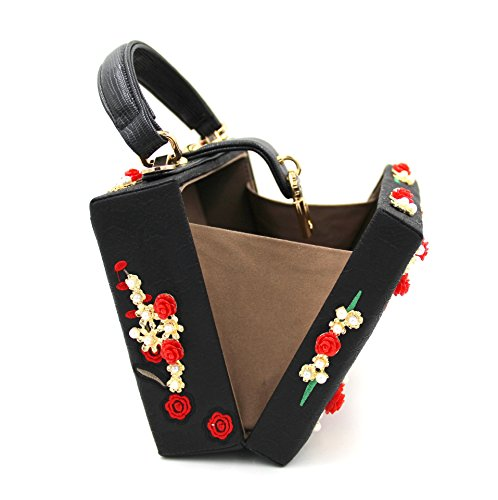 Party Luxury Bag Black Colorful Chain Lady Evening Flowers Evening Clutches Carved Rose Dinner Shoulder Bags Metal Embroidery xvTqZ4x