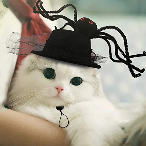 Pet Halloween Costumes for Dog Cat,Funny Hat with Spider Hairpiece Decor for Kitten Puppy,Creative Pet Headgear for Pet…