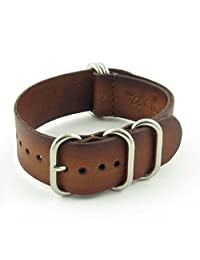 StrapsCo 22mm Brown Vintage Nato Zulu G10 Leather Watch Strap with Polished Stainless Steel Rings