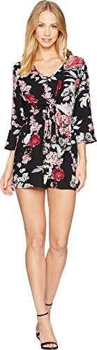 Angie Long Sleeve - Angie Women's Long Sleeve Print Romper Black Small