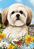"Lhasa Apso Dog – Tamara Burnett Summer Flowers Outdoor Garden Flag 12"" x 17"" For Sale"