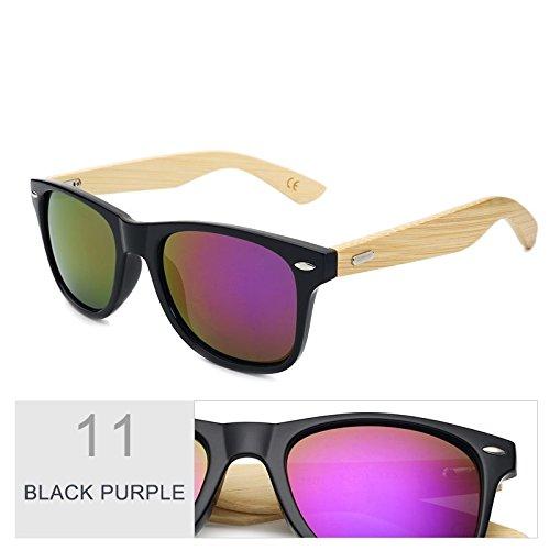 Multi de sol de espejo de de Black gafas de Purple sol Sunglasses color hombre mujer madera bambú Gafas por marrón el TL real TawqH6ACWn
