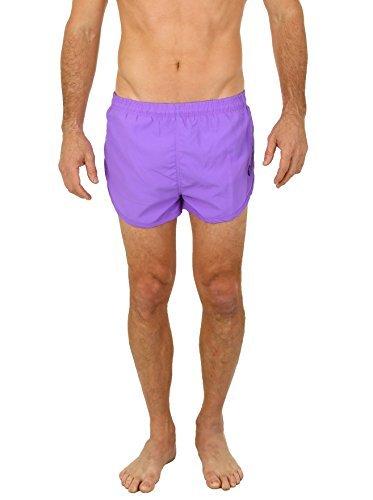 UZZI Men's Basic Running Shorts Swimwear Trunks by Neon Purple (Medium)