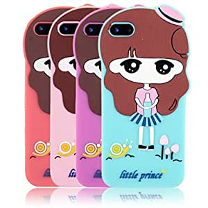 DUR Lovely Cartoon Girl Pattern Silicone Back Case for iPhone 5/5S(Assorted Color) , Green