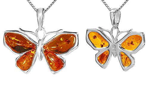 Amber Butterfly Necklace (Sterling Silver Butterfly Amber Pendant Necklace 16