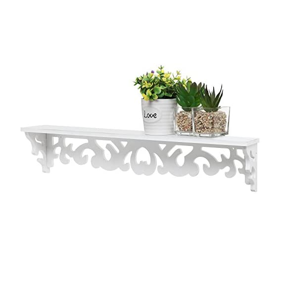 MyGift White Cutout Scrollwork Design Wall-Mounted Floating Shelves, Set of 2 (16 inch and 24 inch) - A set of 2 contemporary wall-mounted shelves with glossy white finish. Features a 16-inch and 24-inch floating shelves with cutout scrollwork design for displaying books, collectibles, pictures and kitchen spices. Can be easily mounted to any wall with proper mounting hardware. - wall-shelves, living-room-furniture, living-room - 41ARGFHL7fL. SS570  -