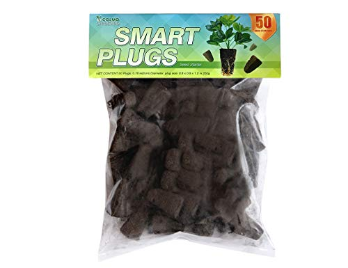 COLMO Seed Starter Smart Seeds Starting Plugs Seedlings Cuttings Cloning Organic Dry Out Rooting Hydroponics Supplies Rapid Root Replacement Priority Delivery (1 Pack of 50 Counts)