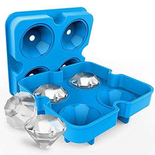 Ice Cube Trays - Silicone Whiskey Ice Cube Tray with Lid Round Diamond Form for Ice Mold Holder Frozen Ice Cube Tray for Freezer Covered Cool Bin