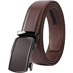 Lavemi Men's Real Leather Ratchet Dress Belt with Automatic Buckle,Elegant Gift Box(55-44505 Brown Leather)