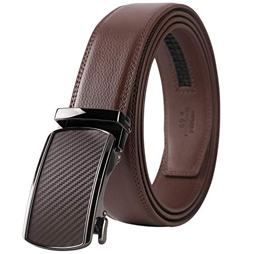 Lavemi Men's Real Leather Ratchet Dress Belt with Automatic Buckle,Elegant Gift Box(55-44505 Brown Leather) ()