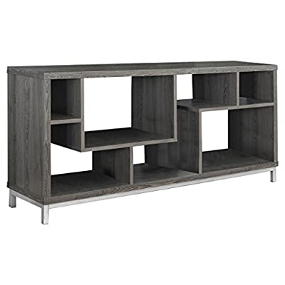 "Monarch Specialties I 2578 Dark Taupe TV Stand, 60"" - Contemporary, asymmetrical design 7 open concept display shelves Durable yet stylish metal accent legs - tv-stands, living-room-furniture, living-room - 41ARGYZL6gL. SS400  -"