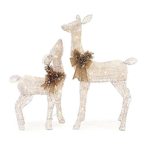 36 in. LED Lighted White PVC Deer and 28 in. LED Lighted White PVC Doe (Outdoor Reindeer Decorations)