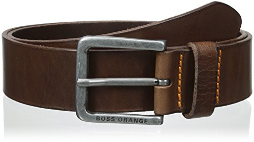 Brown Leather Designer Belt (BOSS Orange Men's Jeek Leather Belt Accessory, -dark brown, 36 US- 95)