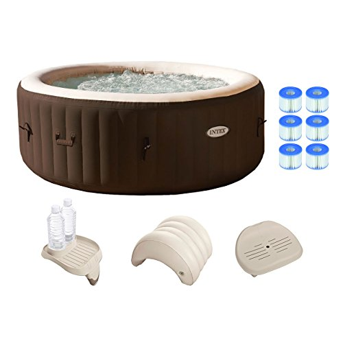 (Intex PureSpa 4 Person Inflatable Spa Portable Hot Tub w/ Filters & Accessories)