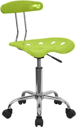Flash Furniture Vibrant Apple Green and Chrome Swivel Task Office Chair with Tractor Seat