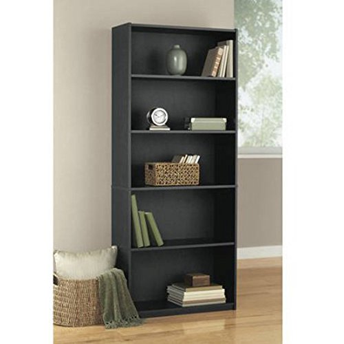 Mainstays 5-Shelf Wood Bookcase, Contemporary style 3 adjustable shelves Solid back panel (Black Oak) by Mainstay
