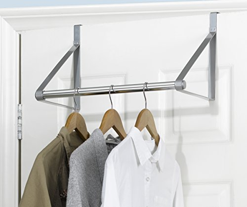 UPC 602105271882, Finnhomy Heavy-duty Over The Door Hanger Rod Organizer for Coat, Closet Rod with Hanging Bar, Towels Holder Brush Finish (Silver)