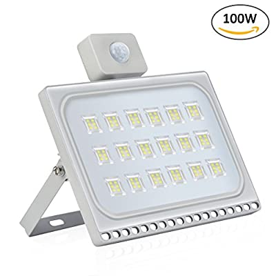 Missbee 100W LED Motion Sensor Flood Lights, Thinner Lighter Outdoor Work Light, Waterproof IP67, 11000LM, Super Bright PIR Security Lights, Cold White (6000-6500K)