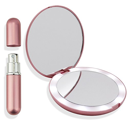 Led Lighted Pink Travel Makeup Mirror 5 Inch Diameter