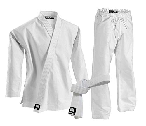 Zephyr Martial Arts K-Pro 14 oz. Karate Gi Student Uniform with Belt - White - 5