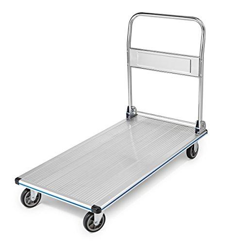 AdirOffice Folding Aluminum Platform Truck - Flatbed Cart - Single Handle - 5'' Non-Marking Polyurethane Casters - 600 lbs Capacity - 48'' x 24'' by AdirOffice (Image #4)