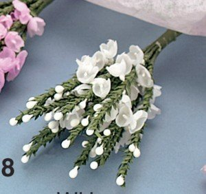 White heather fabric flowers bunch of 12 amazon kitchen home white heather fabric flowers bunch of 12 mightylinksfo