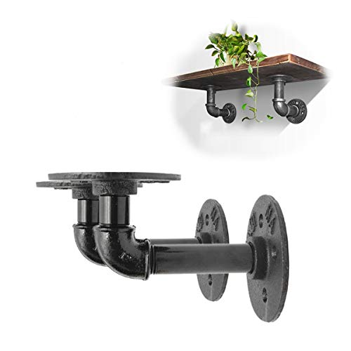 KINGSO Shelf Brackets 2Pcs Industrial Black Iron Pipe Bracket Wall Mounted Floating Shelf Hanging Wall Hardware Decor for Farmhouse Shelving Hardware Heavy Duty - Gallery Cherry Solid Wood