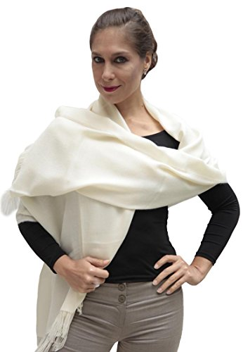 Women's Superfine Woven 100% Baby Alpaca Wool Shawl Wrap (Ivory) (Wool Baby Shawl Alpaca)