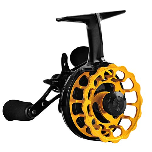 Fiblink Inline Ice Fishing Reel Right/Left Handed 2.7:1 Gear Ratio Mental Fishing Raft Wheel Ice Reels (Right Handed)