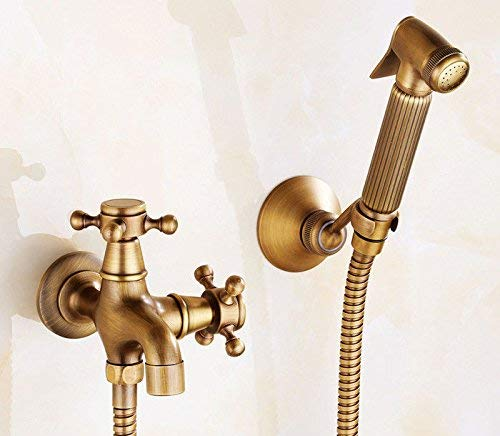 JingJingnet シャワーヘッドキット浴室ハンドヘルド節水シャワー銅材料圧力シャワーヘッドスプレーヘッド健康プライマートイレスプレー水ですすぐ (Color : G) B07RKLQ2B1 G