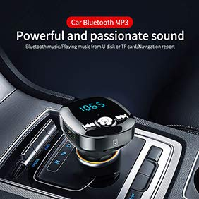 YUSHHo56T Car Bluetooth MP3 Player Car Charger Adapter BC40 Car Bluetooth MP3 Music Player Hands-free FM Transmitter Dual USB Charger - Black