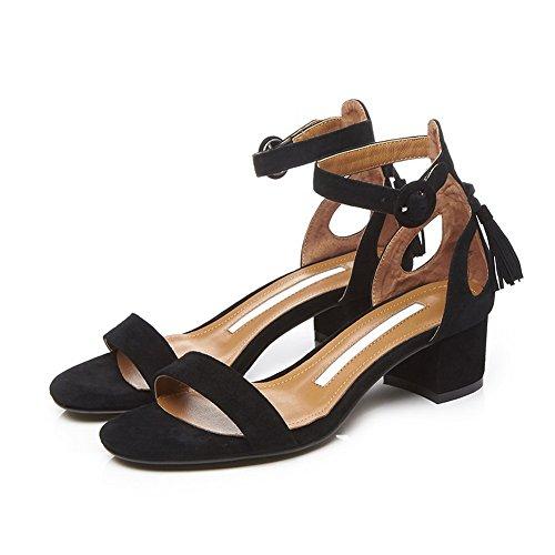 BalaMasa Womens Sandals Peep-Toe No-Closure Adjustable-Strap Kitten-Heel Cold Lining Not_Water_Resistant Urethane Sandals ASL04354 Black ZsN5Gv