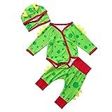 Newborn Autumn Pajamas Sets,Jchen(TM) Newborn Baby Infant Boys Girls Dinosaur Romper Jumpsuit +Pants+Hat Outfits for 0-24 Months (Age: 0-6 Months)
