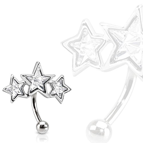 Covet Jewelry Triple Star 316L Surgical Steel Eyebrow Curve with Paved Star Shaped CZs
