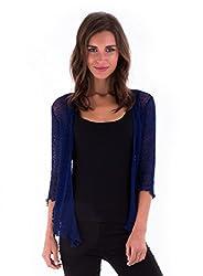 Shu Shi Womens Sheer Shrug Tie Top Cardigan Lightweight Knit Navy Blue One Size