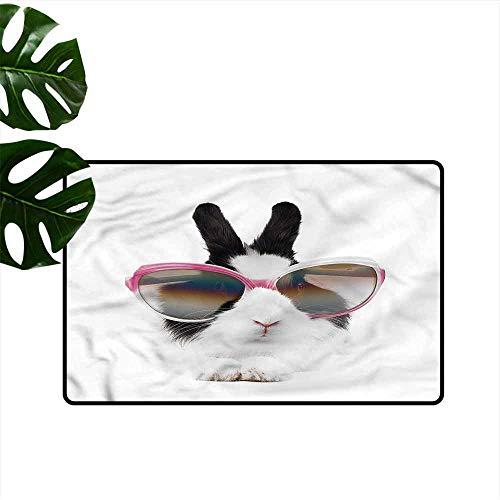 HOMEDD Crystal Velvet Doormat,Funny Little Rabbit in Sunglasses,All Season -
