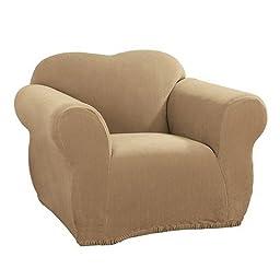 Sure Fit Stretch Rib Beach House Tan Chair Cover