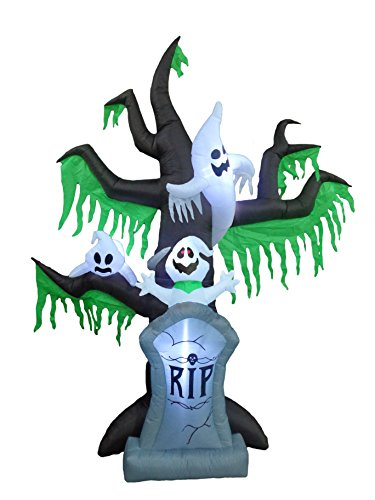 9 Foot Tall Halloween Inflatable Grave Scene Skeletons Ghosts on Dead Tree with Tombstone New Party Decoration -