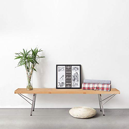 Poly and Bark EM-380-CRM-NAT Slat 5' Bench with Chrome Legs, Natural by Poly and Bark (Image #7)