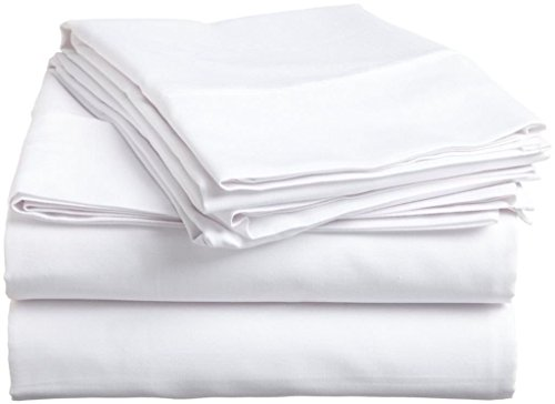 Egyptian Cotton 4 Piece Sheet Set 600 Thread Count UK King Size (+36 CM) Pocket Depth, White Solid